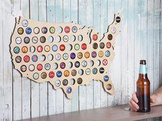 これの日本地図版欲しいね。地ビールスタンプラリー ー Beer Cap Maps by The Grommet
