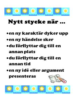 Den här affischen kan du använda som stöd i klassrummet för att visa elever hur de kan tänka när de ska dela in sin text i stycken. Writing Words, Writing A Book, Writing Tips, Teaching Genre, Learn Swedish, Swedish Language, Information Literacy, Writing Process, School Hacks