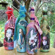 Celebrate the movie Alice Through the Looking Glass by making mixed media bottles with images of your favorite characters. Mark Montano featured on Kenarry.com