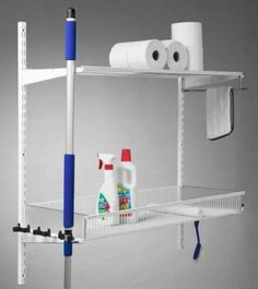 Cleaning Stuff - Elfa Shelf & Broom Kit at STORE. Another neat shelving unit from elfa at STORE, this time to clear away your mops, brush. Closet Storage, Storage Organization, Storage Ideas, Elfa Shelving, Mops And Brooms, Storage Solutions, Storage Systems, Cleaning Closet, Basket Shelves