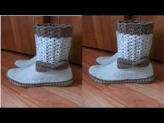 BOTAS Y ZAPATOS PARA DAMAS TEJIDOS A CROCHET .VARIADOS MODELOS - YouTube Crochet Boots, Crochet Slippers, Diy Crochet, Crochet Baby, Baby Booties, Baby Shoes, Slipper Boots, Crochet Videos, Boot Cuffs