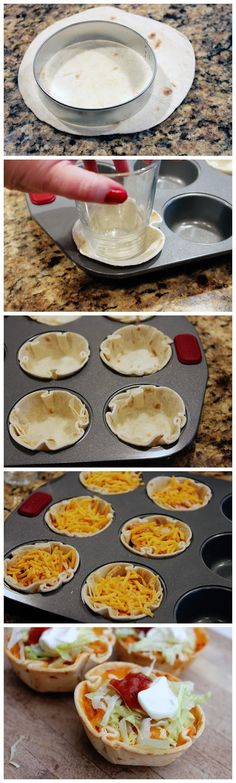 Muffin Tin Chicken Tacos Baking recipes for kids I Love Food, Good Food, Yummy Food, Tasty, Mexican Dishes, Mexican Food Recipes, Muffin Tin Recipes, Muffin Tins, Muffin Tin Meals