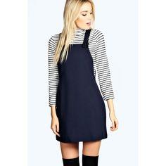 Boohoo Leandra Woven Pinafore Dress ($35) ❤ liked on Polyvore featuring dresses, blue dress, boohoo dresses, braid dress, pinny dress and woven dress
