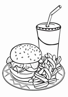 Junk Food Coloring Pages Fast Food Coloring Sheet - Coloring Ideas Food Coloring Pages, Online Coloring Pages, Printable Adult Coloring Pages, Coloring Pages To Print, Coloring Pages For Kids, Coloring Sheets, Free Coloring, Coloring Books, Coloring Pictures For Kids