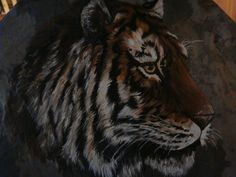 Acrylic Painting of Tiger on slate by ADragonflysFancy on Etsy, $85.00