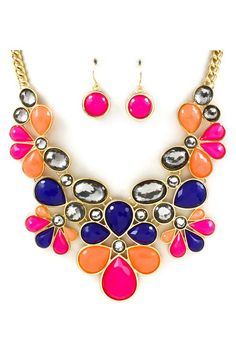 Joan Necklace in Pink, Blue, and Orange