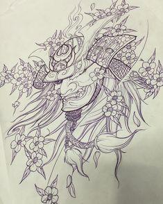 Demon Tattoo, Mask Tattoo, Samurai Tattoo, Piercing Tattoo, Kabuto Samurai, Samurai Art, Chicano Tattoos, Irezumi Tattoos, Asian Tattoos