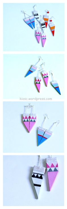 geometric wooden earrings