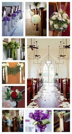 Some church wedding pew ideas and inspirations!  Simple, elegant, and beautiful pew flower ideas.    www.ThisMagicMomentWeddingSale.com