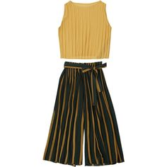 Pleated Top With Color Block Striped Gaucho Pants Yellow ($24) ❤ liked on Polyvore featuring tops, pleated top and yellow top