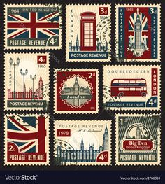 set of stamps with the union jack parliament big ben and london Postage Stamp Design, Postage Stamps Uk, Uk Stamps, Uk Flag, Vintage Stamps, Journal Stickers, Aesthetic Stickers, Union Jack, Printable Stickers