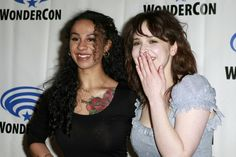 Ashleigh Cummings Photos - (L-R) Jahkara Smith and Ashleigh Cummings attend the press line during WonderCon 2019 at Anaheim Convention Center on March 2019 in Anaheim, California. Anaheim Convention Center, Convention Centre, Ashleigh Cummings, Nos4a2, Anaheim California, Photo L, Will Smith, Jasmine, Off Shoulder Blouse