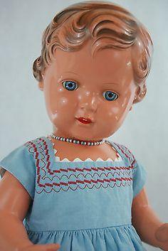 Schildkroet-Puppe-49cm-Erika-alt-antik-50er-Jahre-Celluloid-Zelluloid-top