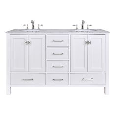 60-inch Malibu Pure White Double Sink Bathroom Vanity with Carrara Marble Top - Overstock Shopping - Great Deals on Stufurhome Bathroom Vanities