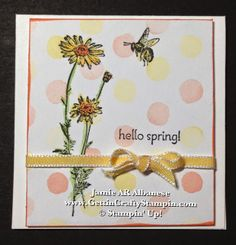Gettin' Crafty Stampin' with Jamie: Springtime Hello mini hand-stamped card #Watercolor #PerfectBow #CardMaking #StampinUp #GettinCraftyStampin