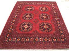 6 x 8 Turkmen Afghan Tribal Hand Knotted Wool Reds Blues New Oriental Rug Carpet #TurkmenGeometricTribal