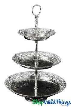 Well my, my, my! This elegant Metal Treat Stand with 3 Tiers is just what your party needs to go from OK to glam and ritzy! This tall stand is finished in gorgeous antique silver and it has 3 lev 3 Tier Cupcake Stand, Tiered Stand, Metal Cake Stand, Food Stands, Holiday Festival, Antique Silver, Fancy, Treats, Antiques