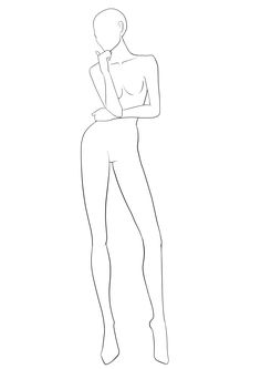 Front view fashion figure template for designing fashion sketches.