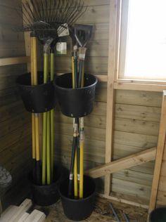 Garage Storage Ideas Diy & Garage Organization 13 Creative Garden Tools Storage Ideas To Help You Or Storage Shed Organization, Garage Storage Solutions, Garden Tool Storage, Diy Organisation, Storage Hooks, Bike Storage, Organizing Ideas, Yard Tool Storage Ideas, Smart Storage