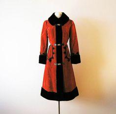 60s Coat Russian Princess Coat Vegan Faux Fur Coat Trim 1960s Burnt Orange Velvet Suede