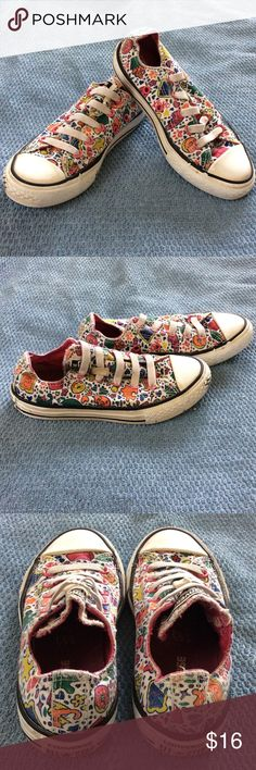 Converse No Time To Lace Kids/Juniors No Time To Lace All Star Converse shoes - size 12 white canvas w/ multi design print puzzle pieces, donuts, cupcakes, pepper shaker, LOL, paw print  colors are pink, green, orange, yellow, blue         Some gum on sides--see pics.  No box. Converse Shoes Sneakers