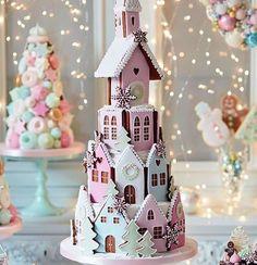 Lovely pastel gingerbread house cake