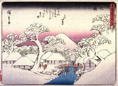 Utagawa Hiroshige: Mishima, no. 12 from a series of Fifty-three Stations of the Tokaido (Tokaido gojusantsugi) - Legion of Honor