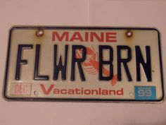 MAINE FLWR BRN FLOWER BARN LICENSE PLATE VACATIONLAND LOBSTER