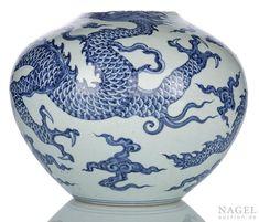 A rare blue and white 'dragon' vase, Tianqiuping, China, Ming dynasty