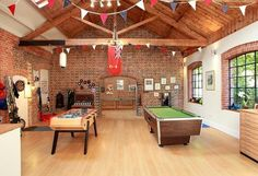 With darts, billiards, air hockey (? :) room should be big enough :) Teen Game Rooms, Video Game Rooms, Teen Playroom, Attic Playroom, Garage Game Rooms, Game Room Basement, Teen Hangout, Hangout Room, Air Hockey