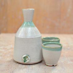 White with Green Sake Set