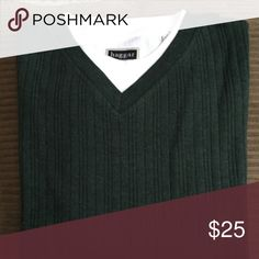 Long sleeve v neck sweater with t shirt inset Long sleeve sweater with t shirt inset, 100% cotton, new with no tags, from a smoke free home, color is hunter green Haggar Sweaters V-Neck