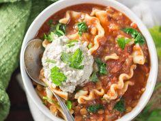 Vegan Slow Cooker Lasagna Soup