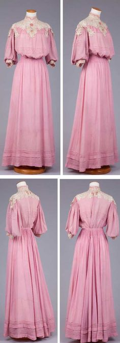 Love this dress! I am putting it on my to make list. :) Pink silk dress, ca. 1900-05, with short, full sleeves, white foundation bodice, pouter pigeon front, and high cream-colored collar and yolk. Lace trim and tucks on bodice and at hem. Goldstein Museum of the Univ. of Minnesota