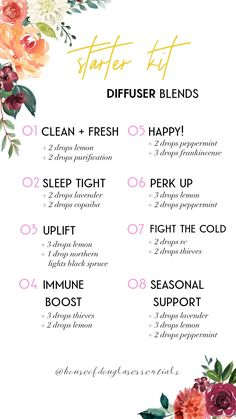 starter kit diffuser blends for young living essential oils premium starter kit Relaxing Essential Oil Blends, Essential Oil Diffuser Blends, Young Living Oils, Young Living Essential Oils, Mixing Essential Oils, Young Living Lavender Oil, Young Living Lemon, Young Living Diffuser, Young Living Thieves