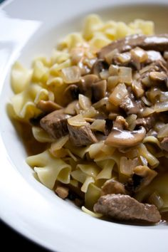 Beef Stroganoff...strips of beef in a creamy mushroom sauce  and served on a bed of hot egg noodles