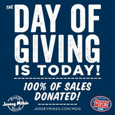#JerseyMikesGives. Today we receive 100% of sales from both Tulsa Jersey Mike's Subs locations!