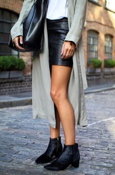 long trench coat, leather jacket & ankle boots #style #fashion