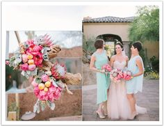 A blush and aqua palette was used in both decor and wedding fashion for this Scottsdale wedding. Event design by Alchemy Fine Events | www.alchemyfineevents.com