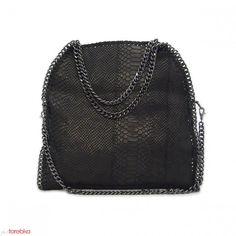 Czarna torebka z imitacji wężowej skóry Adriana