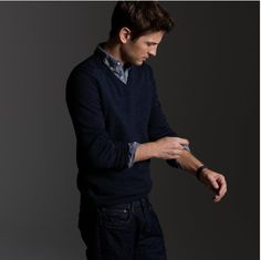 simple & perfect, checked shirt, deep navy v-collar sweater, dark blue jeans / men fashion