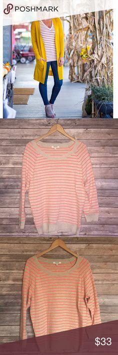 Madewell tan orange striped long sleeve sweater Madewell tan orange striped long sleeve sweater Madewell Tops Sweatshirts & Hoodies