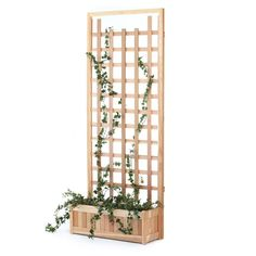 All Things Cedar Western Red Cedar 2-piece Planter With Trellis Panel