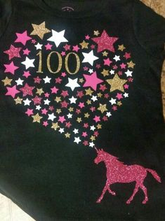 100 days of school shirt! My 5 year old wanted a unicorn shirt for her 100th day, so I made this with the Cricut Explore Air and extra pieces I had of HTV.