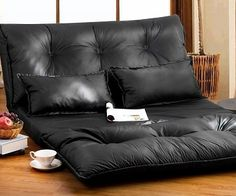 Relax in luxury comfort and style with this convertible leather sofa! The backrest adjusts to 5 different positions depending on whether you want it as a sofa, recliner or bed. Quick and easy to convert and comes with 2 pillows.