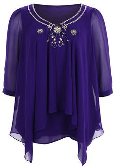 ELVI Ladies PurpleTwo In One Embellished Tunic & Vest  I'm Made Of  Shell :100% Polyester  Lining: 100% Polyester  Look After Me  Hand Wash Only  Product Code: S13E/BS48/05RF  Length: 75cm