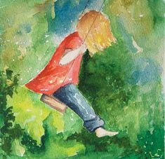 """Swinging Watercolor Painting of Little Girl on Swing with Green, Mounted on 6"""" x 6"""" box panel"""