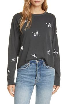 The Long Sleeve Floral Embroidered Crop T-Shirt, Size 1 (fits like US) - Black Graphic Sweatshirt, T Shirt, Adidas Jacket, Nordstrom, Sweatshirts, Long Sleeve, Floral, Sweaters, Cotton