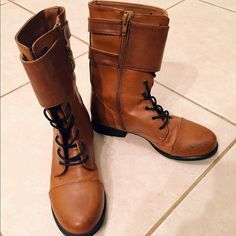 Brown boots Very stylish and comfy light brown boots! Have small black mark on the front that could be erased I tried. Only worn twice Forever 21 Shoes Combat & Moto Boots