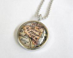 World Traveler Map Necklace or Pendant - Brussels, Belgium. $20.00, via Etsy.